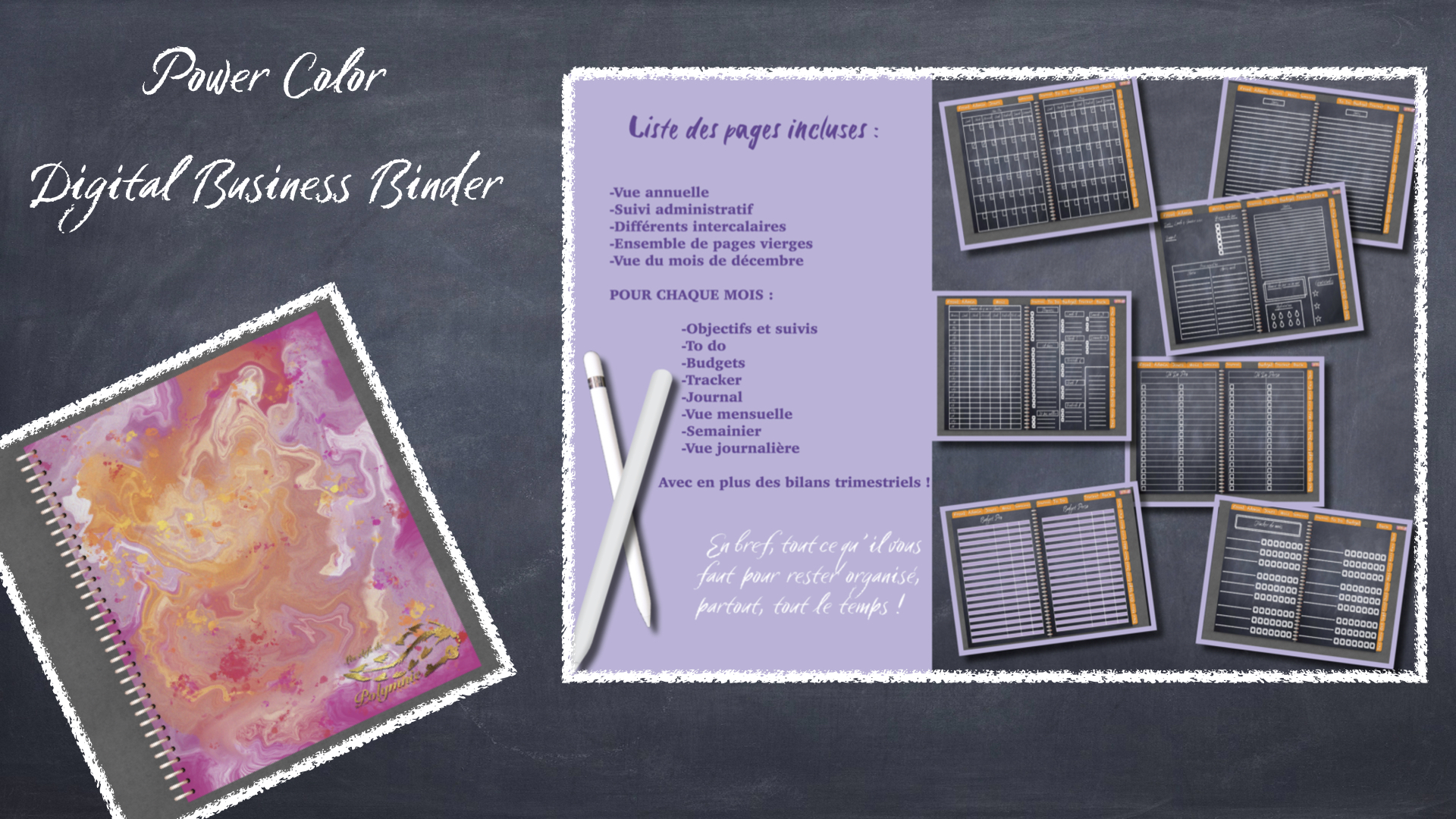 Visuel Pink Marble Digital Business Binder